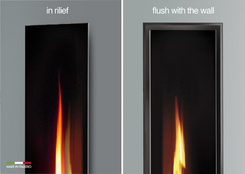Två olika varinater av Eldstad som spegel med Italkero-mirror i relief eller eller anpassad till väggen