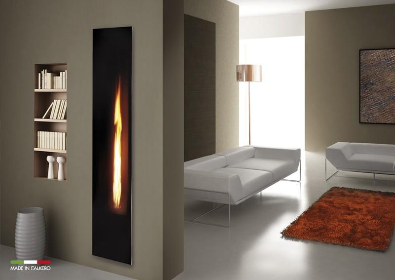 Vardgasrum med en spegelkamin ger enkel värme i hemmet med gasol eller gas Italkero-mirror hänger du på väggen