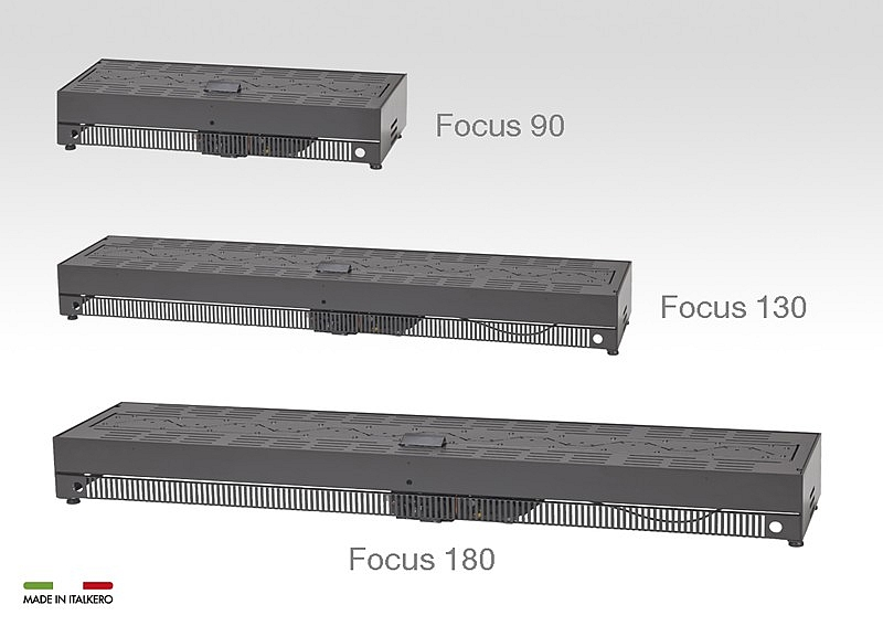 Det finns olika längd på brännare för bord, Italkero-focus eldstad med naturgas eller gasol