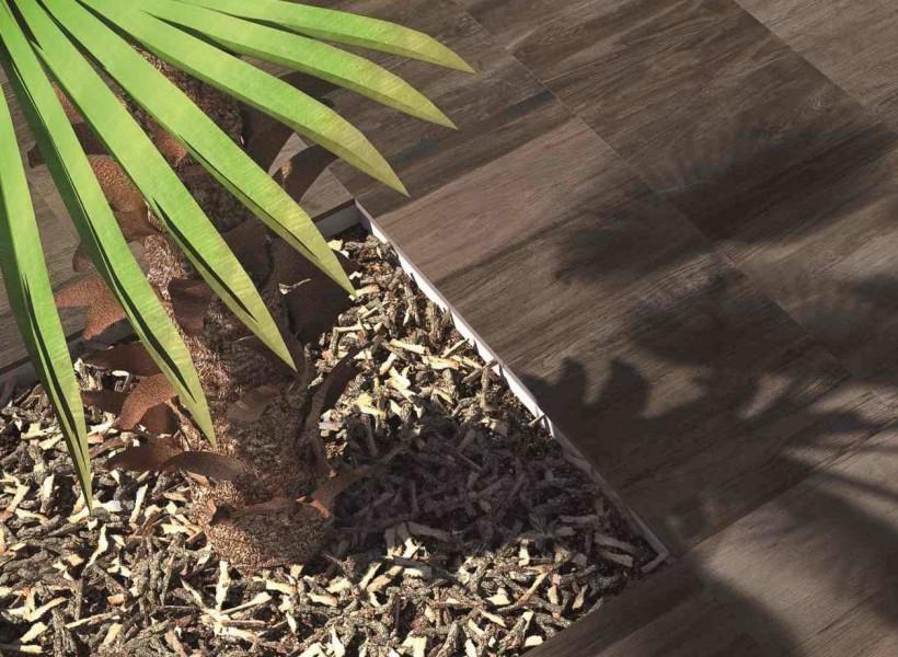 Klinker som ser ut som trä, skapa din egen oas genom att lämna hål för t.ex. en palm-